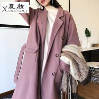 夏妆Ayi宽松口袋翻领中长款厚实毛呢外套女 韩版高品质双面呢子大衣