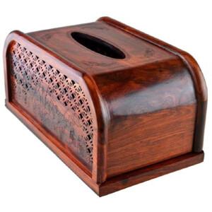 大红酸枝圆形抽纸盒 23.3 13 11.6