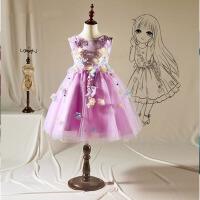 儿童礼服女花童婚纱蓬蓬公主裙钢琴演出服 十一女童礼服裙紫色秋冬 紫罗兰