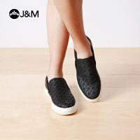 jm快乐玛丽秋季时尚平底素色几何图厚底舒适套脚商务休闲男鞋子