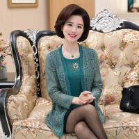 2017中老年女装秋装蕾丝两件套套装50岁60妈妈装t恤开衫上衣长袖