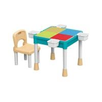 儿童拼图玩具 多功能大颗粒积木桌玩具学习桌儿童趣味玩具礼盒装生日礼物