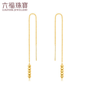 六福珠宝足金耳环几何系列小圆点金耳线黄金耳坠  L02TBGE0008