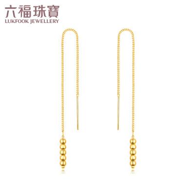 六福珠宝足金耳环几何系列小圆点金耳线黄金耳坠  L02TBGE0008简约的线条 适合日常佩戴—支持使用礼品卡