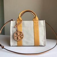 美国代购女包 TB帆布包尼龙包 大号购物袋托特包手提包 黄色条纹 29cm