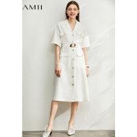 【券后预估价:310元】Amii极简法式气质连衣裙2020夏季新款V型配腰带收腰显瘦女中长裙