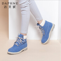 达芙妮正品女靴子秋冬季低跟系带方根圆头甜美时尚马丁靴女短靴鞋子女