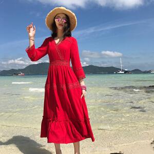 AGECENTRE2018夏装新款泰国巴厘岛海滩裙沙滩裙女夏2017新款海边度假显瘦长裙连衣裙