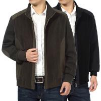 春秋装中年爸爸装夹克外衣中老年人男装立领拼色薄外套40-50-60岁