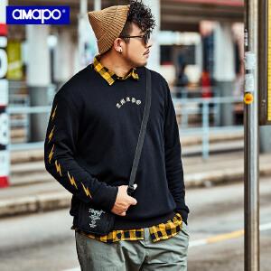 【限时抢购到手价:105元】AMAPO潮牌大码男装秋季胖子加肥加大码套头圆领印花嘻哈长袖卫衣