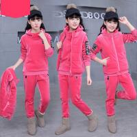 2017新款中大童韩版潮衣棉绒厚款秋冬款卫衣三件套女童冬装套装