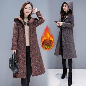 2018新品新款冬季民族风棉衣女中长加绒加厚中国风棉麻复古连帽外套