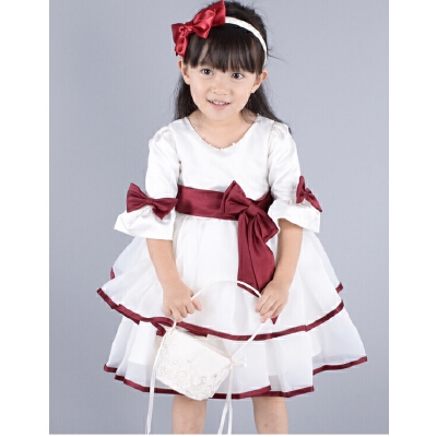 花童礼服女童公主裙冬长袖儿童裙蓬蓬秋童装婚纱元旦新年演出服