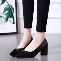 女尖头职业浅口工作鞋高跟软底舒服性感粗跟单鞋