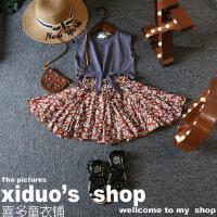 韩国儿童套装夏装新品女童复古系带无袖背心+小碎花短裙套装