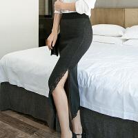 新秋冬中长款后开叉针织包臀半身裙女高腰弹力修身裙子一步裙