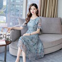 香衣宠儿 真丝连衣裙 2018夏季新品韩版显瘦印花短袖桑蚕丝裙子 2110-54