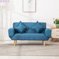 懒人沙发可折叠多功能单人双人沙发客厅卧室布艺午睡北欧沙发床 豪华款 蓝色 送同色抱枕2个 1.5米以下