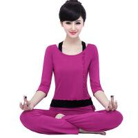 2018035613469 春夏莫代尔瑜伽服 三件套套装 女大码宽松舞蹈练功服套装