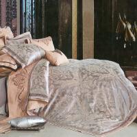 伊迪梦家纺 贡缎丝绵精致提花六件套 纯棉绣花婚庆高档床上用品1.8/2.0m床大被套XW102