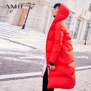 +Amii2017冬装新款大码宽松长款两面穿加厚90绒羽绒服女