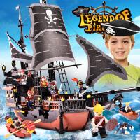 积木拼装加勒比黑珍珠海盗船玩具JACK船长男孩海军6-7-9-10岁