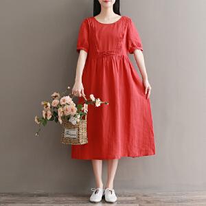 RANJU然聚 2018夏季女装新品新款北欧设计复古风琴褶苎麻宽松短袖度假衣裙