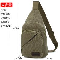 青年男士多功能帆布胸包大容量单肩包休闲旅行斜挎包韩版学生背包