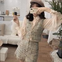 韩版新款Chic气质粗花呢马甲短裙两件套女长袖衬衫小香风时尚套装