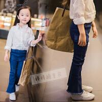韩国童装女童喇叭牛仔裤春秋新款韩版儿童休闲百搭弹力长裤子