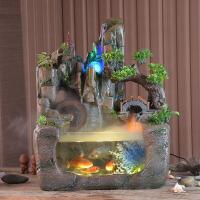 假山微景观流水养鱼缸喷泉创意摆件装饰客厅加湿器开业礼品