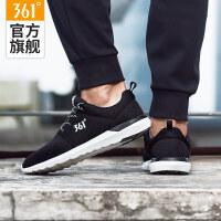 361度男鞋跑步鞋皮面防水运动鞋男鞋黑色跑鞋冬季旅游鞋子男
