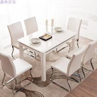 钢化玻璃餐桌椅组合家用长方形饭桌现代简约 白木色 15-60天发货