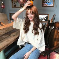 春夏女装韩版宽松百搭中长款短袖条纹T恤中袖打底衫上衣学生体恤