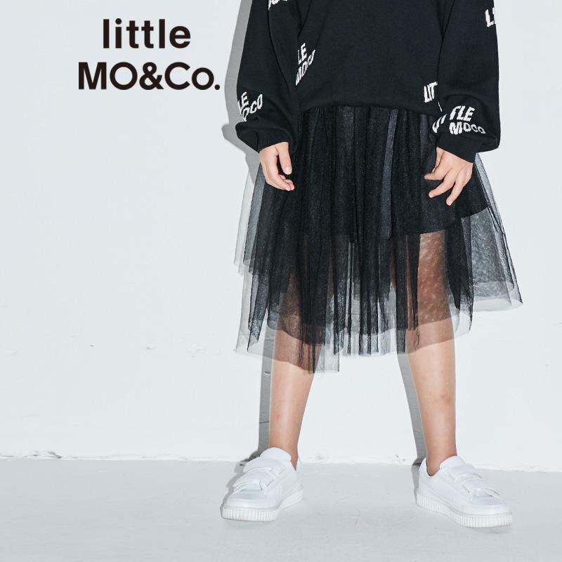littlemoco童装女童裙子不对称网纱裙松紧腰休闲短款半身裙 轻盈网纱 不对称裙摆设计