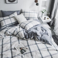 全棉床上用品北欧简约黑白条纹床单四件套纯棉被套1.8米床笠