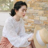2018秋季新款泡泡袖蕾丝衫长袖衬衫女学生韩版2018新款秋装小清新宽松甜美上衣 白色