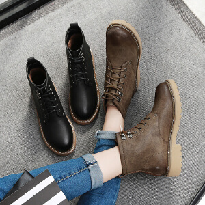 毅雅2017秋冬短靴女系带平底低跟英伦风马丁靴粗跟复古防滑方跟裸靴