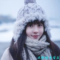 冬天帽子女士毛线帽 针织保暖帽 护耳帽 女冬季秋冬加厚东北可爱