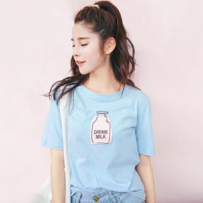 夏季新品韩版宽松百搭棉字母卡通刺绣短袖T恤女装显瘦上衣