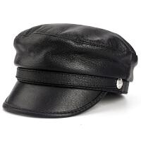 秋冬季真皮男女款皮帽子韩版复古皮帽潮流学生帽平顶鸭舌帽海军帽
