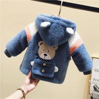 冬装童装小童加绒针织外套婴儿童小熊棉衣
