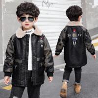 童装男童加绒冬装外套儿童洋气中长款夹克韩版