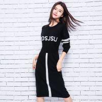 韩版修身女士字母连衣长裙羊绒衫 秋冬打底绒衣针织衫 毛衣外套