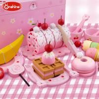 Onshine樱桃熊木制甜点蛋糕水果冰激凌早餐切切看儿童过家家玩具