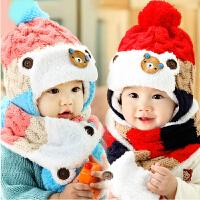 婴儿帽子男女宝宝帽子秋冬季儿童帽子围巾两件套护耳加绒毛线帽潮