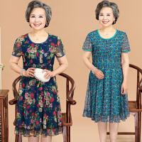 中老年女装夏装显瘦妈妈装连衣裙蕾丝上衣50岁奶奶连衣裙中长款