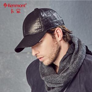 真皮帽子男士羊皮帽子秋冬季中老年真皮棒球帽时尚纯色黑色鸭舌帽2565