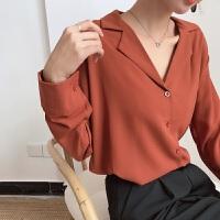 2018春秋新款韩范衬衣女百搭宽松v领长袖单排扣时尚翻领学生衬衫