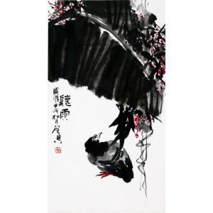 著名画家    乍启典《听雨》